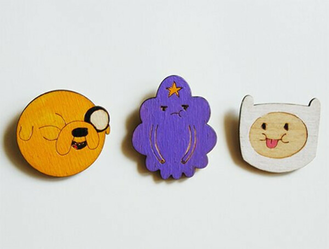 Деревянные брошки Adventure Time by Deep Forest