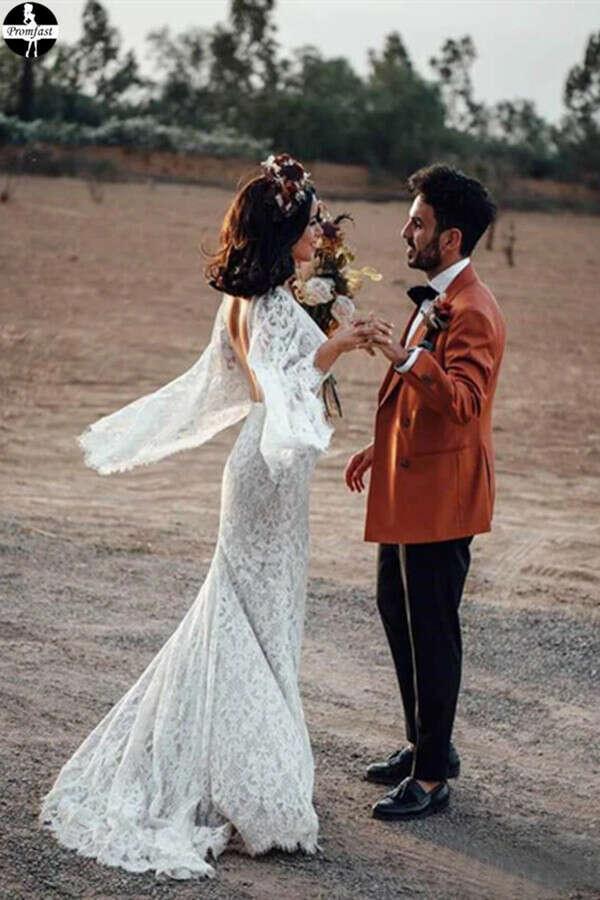 Promfast Backless Batwing Sleeve Boho Wedding Dresses Mermaid Rustic Wedding Dress PFW0525