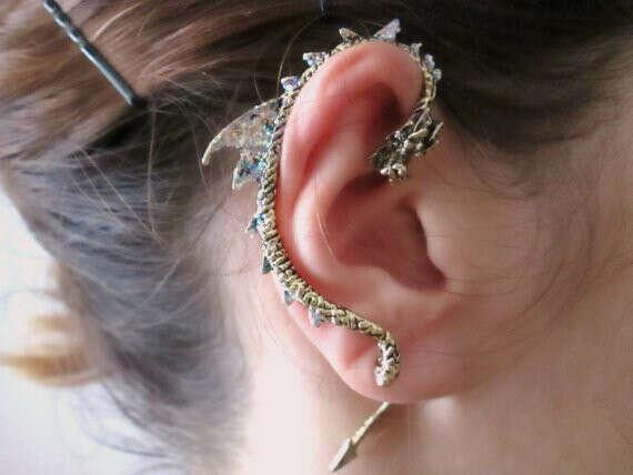 Punk bronze Dragon Ear Cuff Earring, dragon jewelry, dragon earrings wrap, gothic jewelry