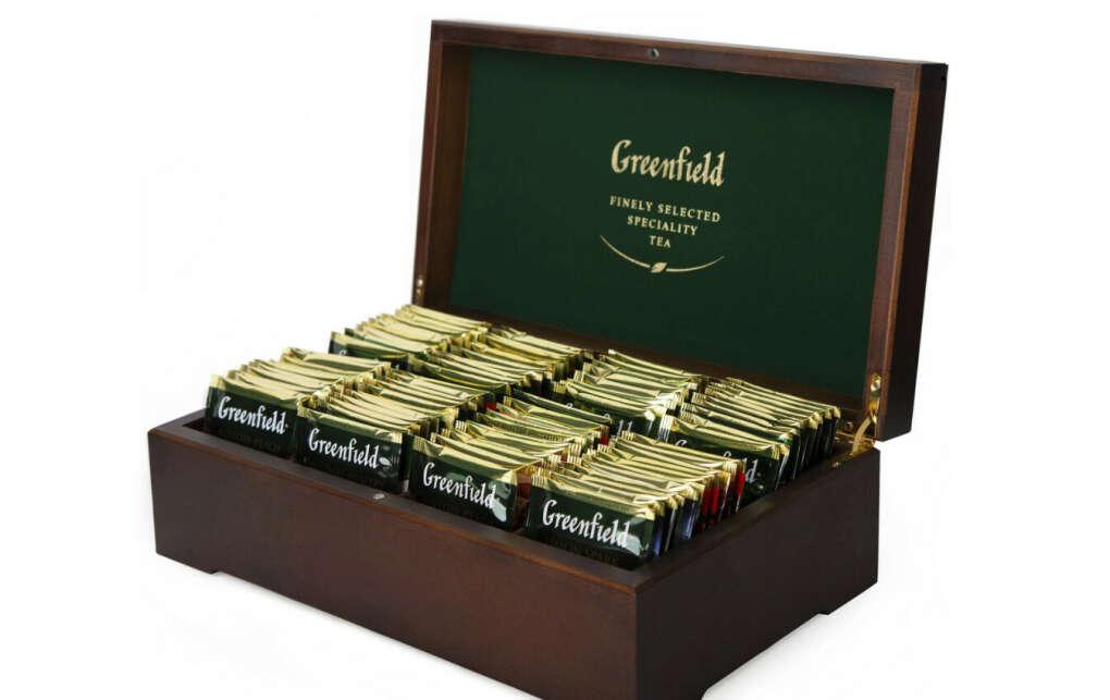 Greenfield подарочный набор: 8 видов чая, 178 г (деревянная шкатулка)