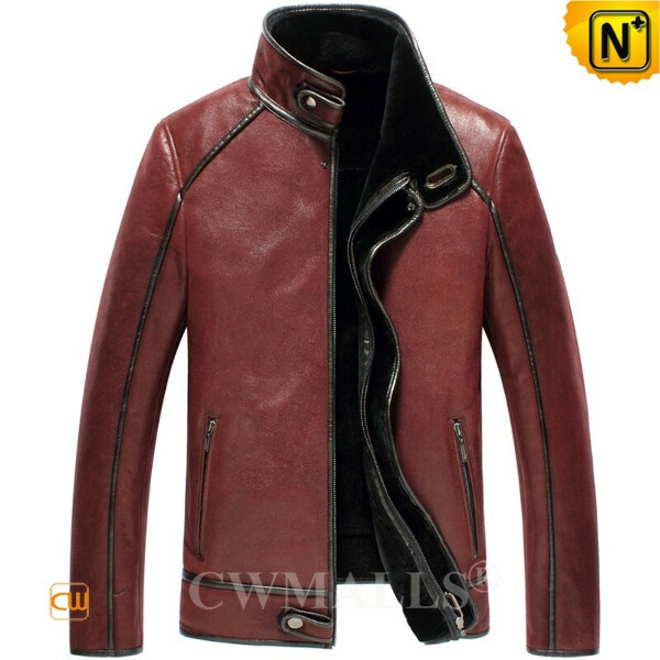 Men Leather Jackets   Custom Sheepskin Flight Jacket CW890113   CWMALLS.COM