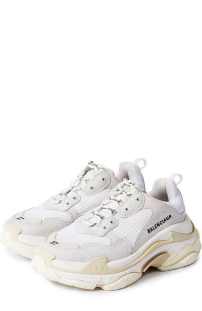 Женские белые кожаные кроссовки triple s с текстильной отделкой BALENCIAGA — купить за 53550 руб. в интернет-магазине ЦУМ, арт. 524036/W09E1