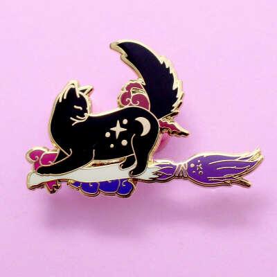 Broomstick Cat Enamel Pin