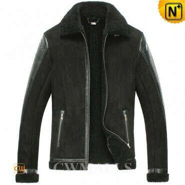 CWMALLS® Custom Black Sheepskin Bomber Jacket CW861234