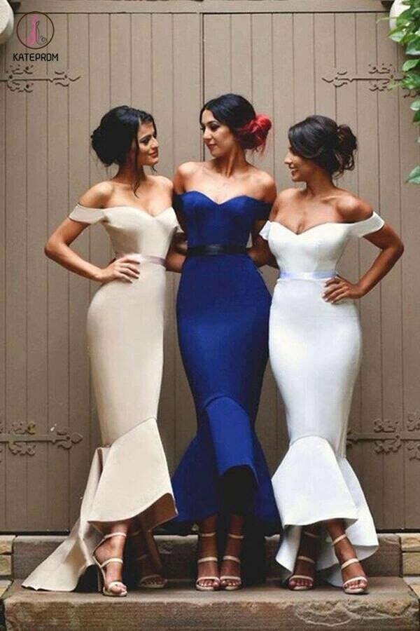 Mermaid Satin Off-the-Shoulder Prom Dresses,Bridesmaid Dress KPB0033
