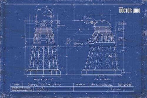 Подробные сведения о  далеков схема диаграмма (ламинированные) постер Dr доктор кто BLUEPRINT новый лицензированный-без перевода