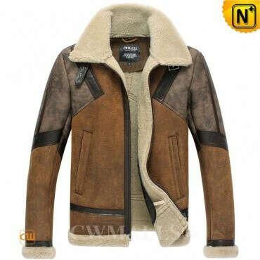 CWMALLS® Buffalo Sheepskin Bomber Jacket for Men CW838020