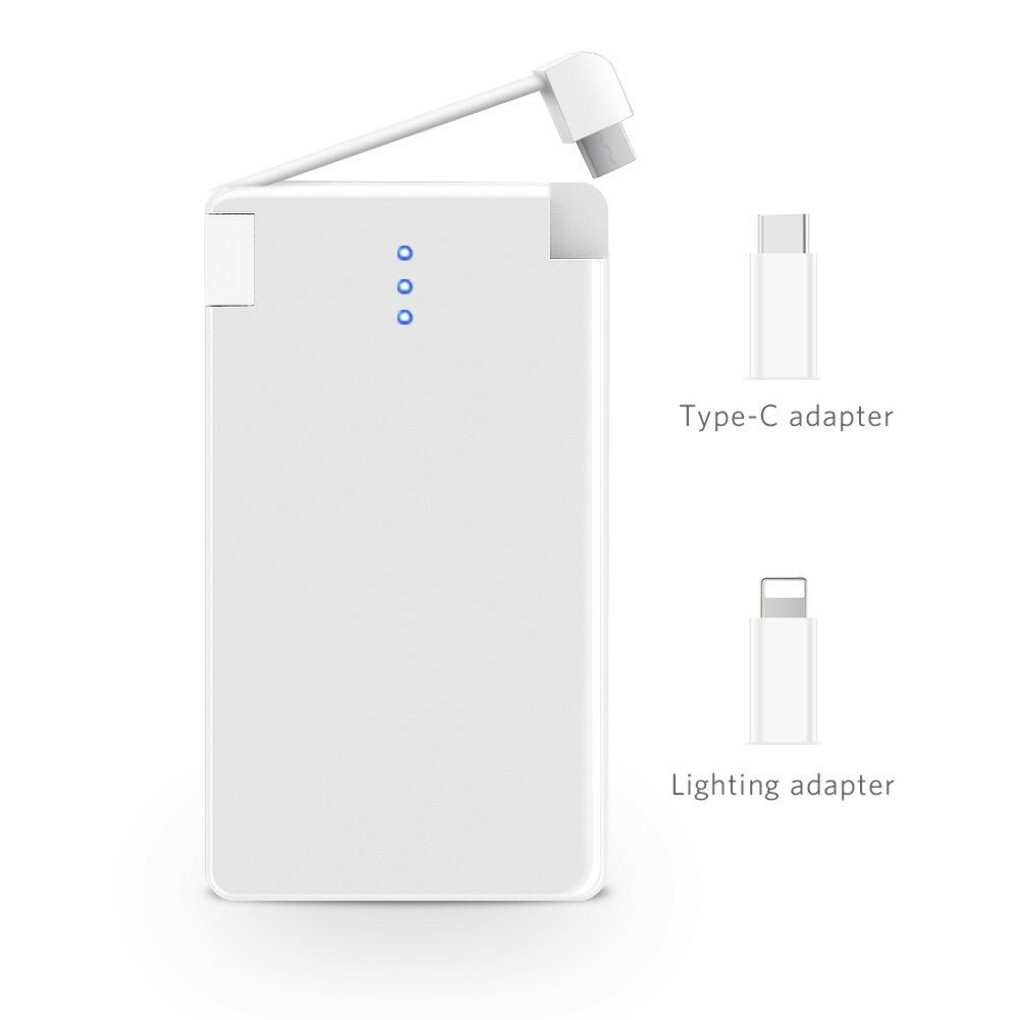 YFW All-In-One Ultra Slim Portable Pocket Power Bank; External Mini Backup Battery Pack, for Cell Phone iPhone Android HTC (6000mAh, with Lightning, Micro,USB_c)