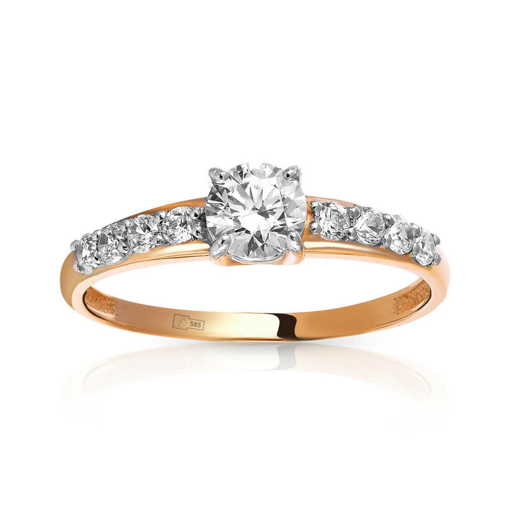 Кольцо из золота с кристаллом SWAROVSKI и фианитами