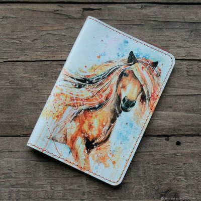 """Обложка на паспорт """"Лошадь. Акварель"""" из натуральной кожи"""