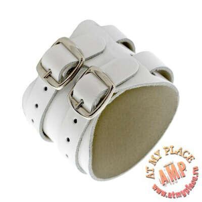 Белый кожаный браслет KB0046