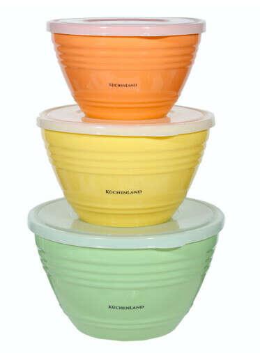 Набор мисок, 3 шт, с крышкой, пластик, желтый/зеленый/оранжевый, Dolce