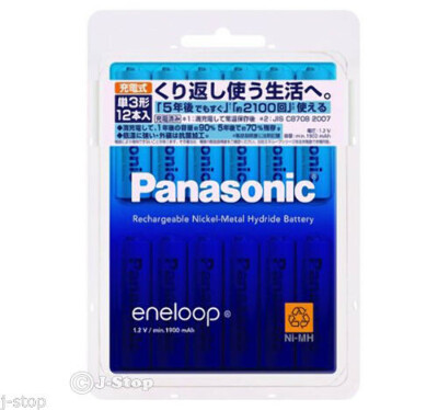 12 Panasonic Eneloop 2100 Times Rechargeable Batteries AA White Model 1900mAh