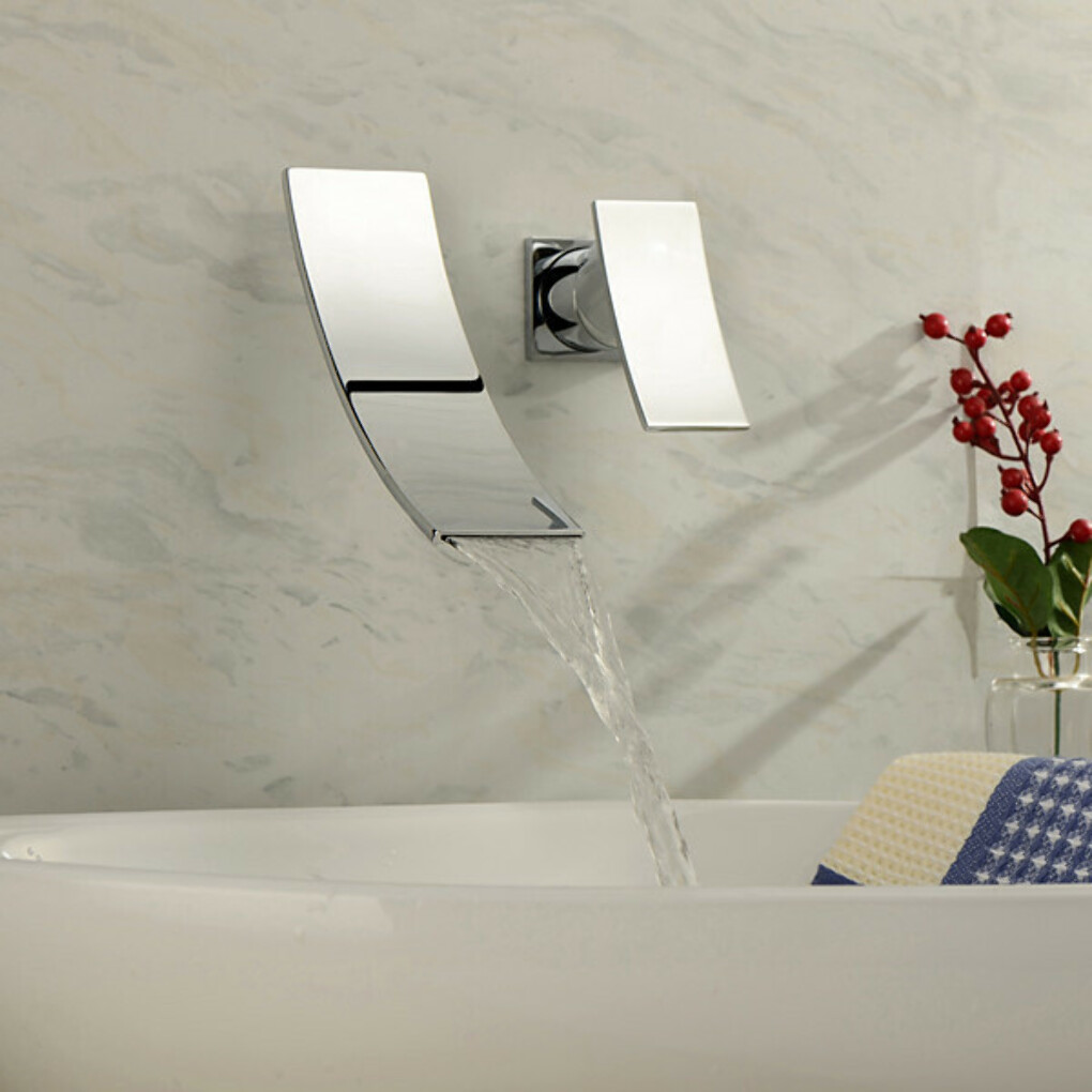 Contemporary Chrome Finish Waterfall Wall Mount Stainless Steel Bathroom Sink Faucet At FaucetsDeal.com