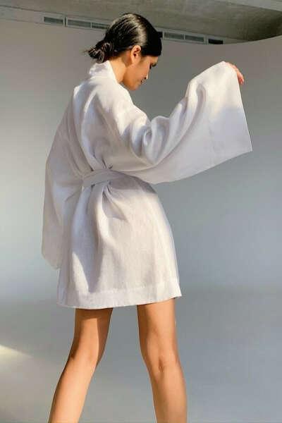 Платье-кимоно из льна