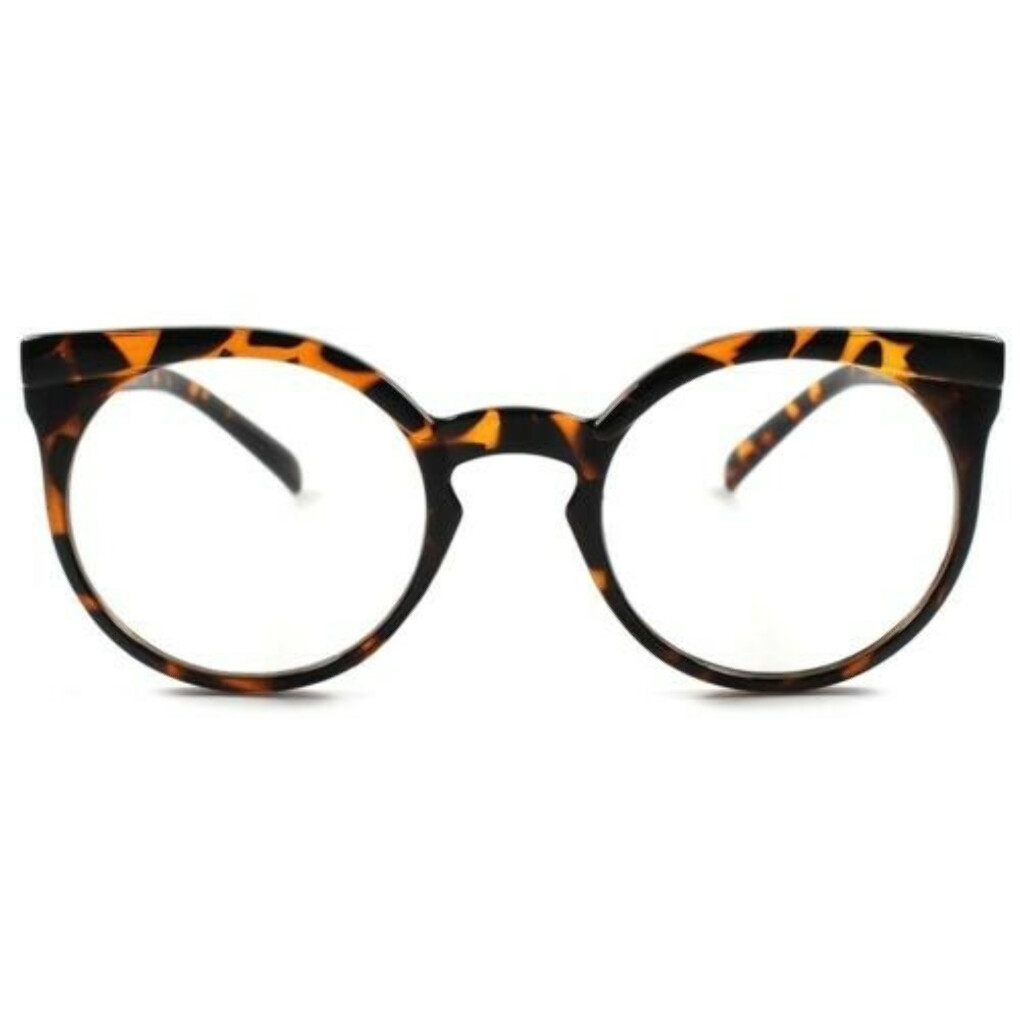 Tortoise Vintage Retro Fashioned Round Cat Eye Womens Hot Clear Lens Glasses A80