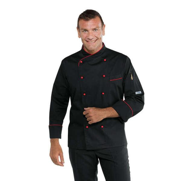 Giacca cuoco chef Panama Isacco 058207 – colore nero+rosso – slim uomo