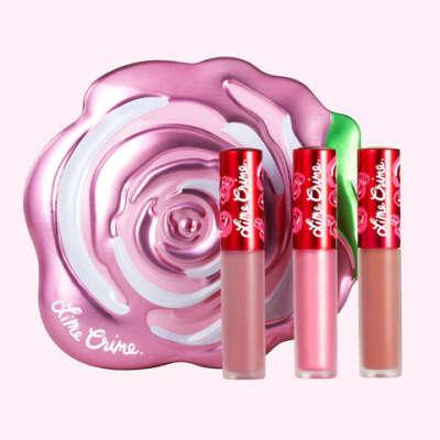 Набор жидких матовых помад Pink Rose VELVE-TIN Lime Crime