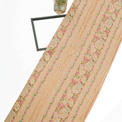 Peach Georgette Fabric Lucknowi & Resham Work With Sequin