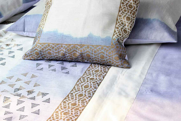 Shades of Midnight Blue Shibori Silk Bedcover Set