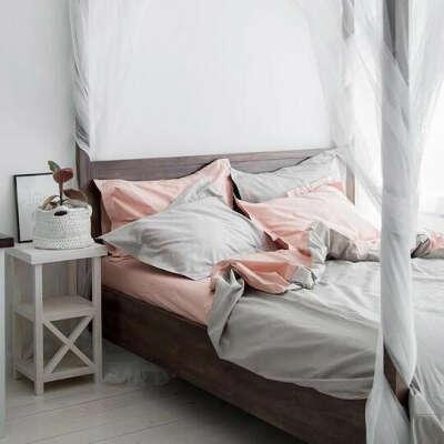 Бежево-серый + пудровый комплект (двухспальный)