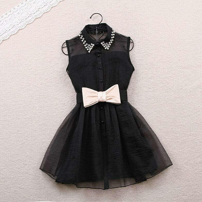 Pearl diamond small lapel gauze waist tutu one piece dress