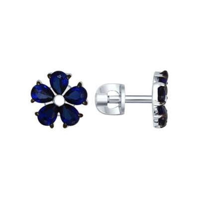 Серебряные серьги-пусеты «Синий цветок»