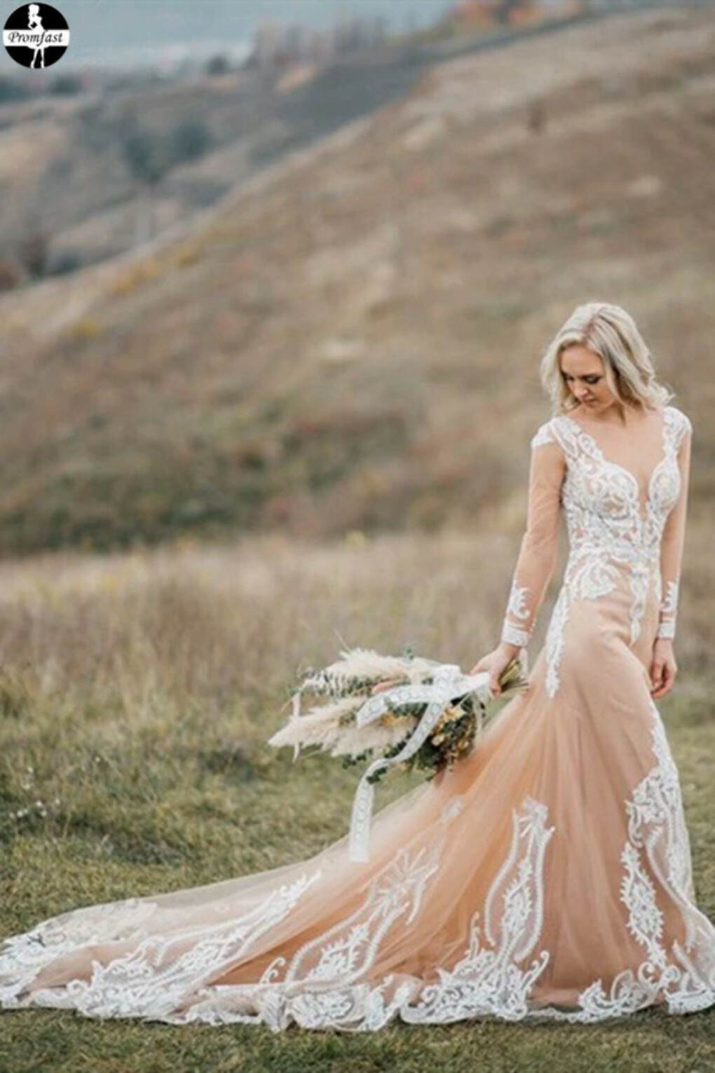 Promfast Boho Wedding Dress With Nude Underlay Tulle Lace Applique Wedding Dress Bridal Gown PFW0523
