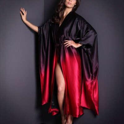 Шелковый халат-кимоно
