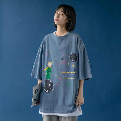 834.25руб. 46% СКИДКА|Женская футболка с короткими рукавами Le Petit Peinec, летняя футболка с круглым вырезом и принтом Маленького принца, топы для студентов, 2020|Футболки|   | АлиЭкспресс