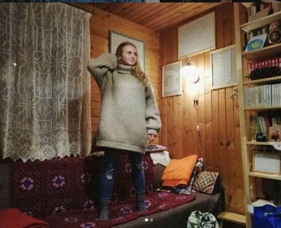 большой вязаный свитер