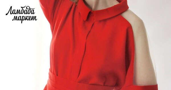платье-рубашка Фражиль с прозрачным плечом