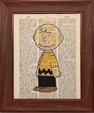 Ready Prints Charlie Brown Cartoon Character Dictionary Book Page Artwork Print Picture Poster Home Office Bedroom…