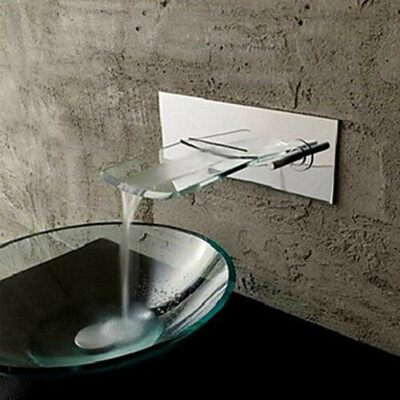 Wall Mounted Chromed Copper Waterfall Bathroom Sink Faucet - Silver At FaucetsDeal.com