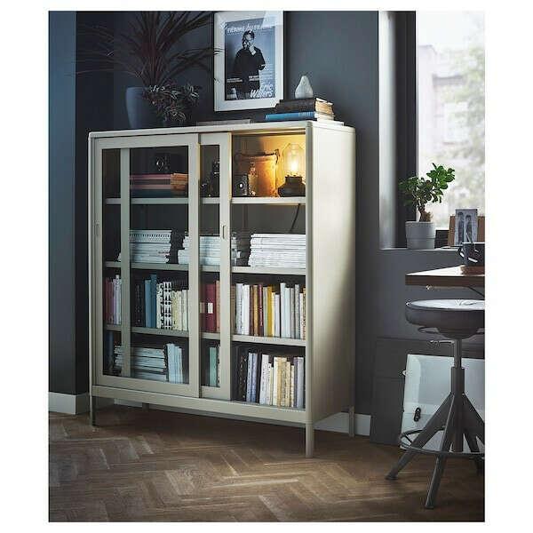 ИДОСЕН Шкаф+раздвижные стеклянные дверцы, бежевый