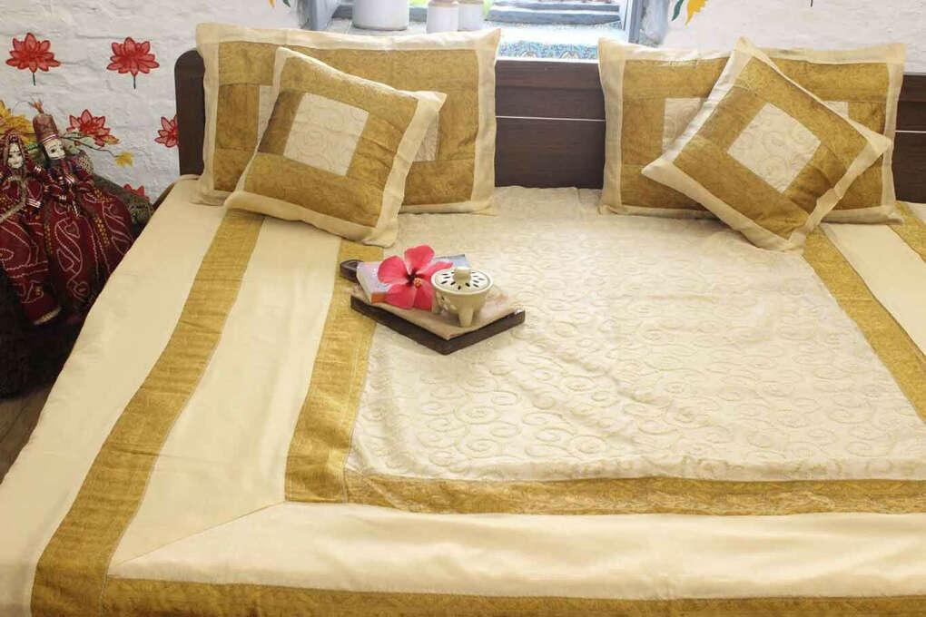 Gold Royal Journey Silk Bedcover Set