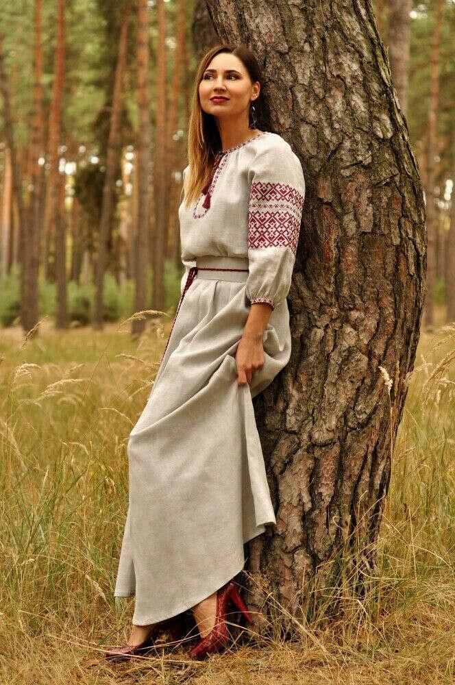 Украинское льняное платье