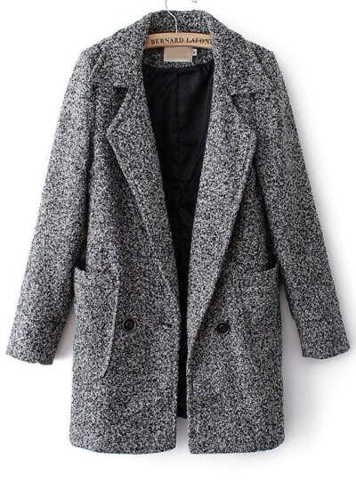Grey Notch Long Sleeve Pockets Trench Coat