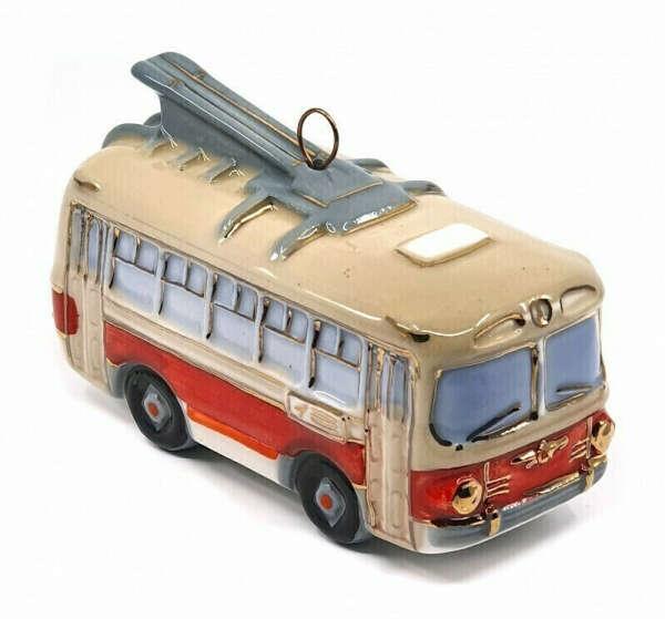 Ёлочная игрушка Фарфоровая Мануфактура Троллейбус