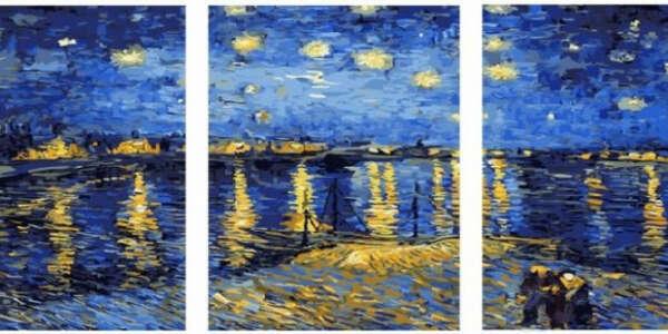"Картина по номерам  ""Вечер в заливе"" Ван Гог триптих"