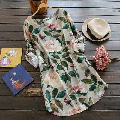 Лляна сукня з квітковим принтом