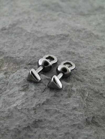Пять минималистичных серебряных\черных сережек-пусетов
