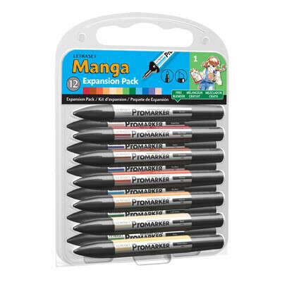 Набор маркеров Letraset Manga Expansion Pack 1 (12 маркеров+1 блендер)