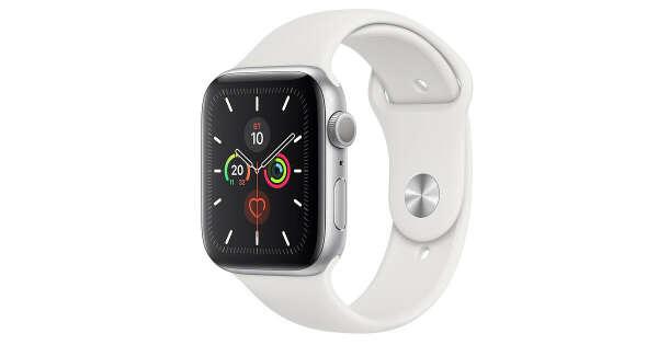 AppleWatch Series5, GPS, корпус 44мм, алюминий серебристого цвета, спортивный ремешок белого цвета, размеры S/M иM/L