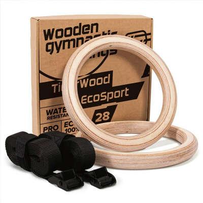 Кольца Спортивные Гимнастические из дерева TigerWood EcoSport 28
