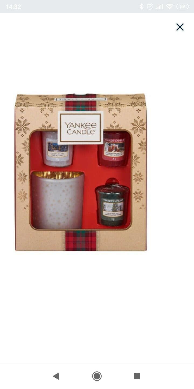 """Подарочный набор 3 вотива и подсвечник """"Рождество в Альпах"""" (Уютный дом, Вечнозеленая хвоя, Гранатовый джин)"""
