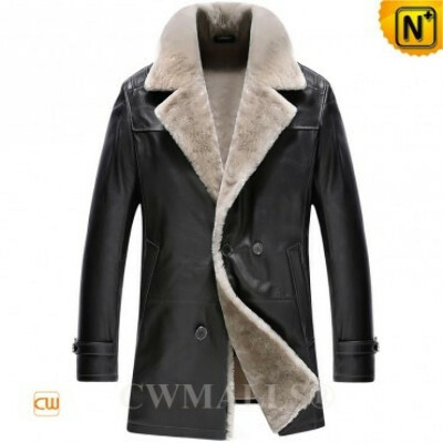 CWMALLS® Patent Mens Shearling Double Breasted Coat CW890013