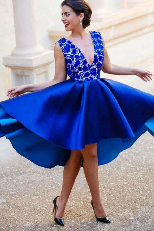 Anneprom A-Line V-Neck Backless Short Royal Blue Satin Homecoming Dress With Lace APP0147