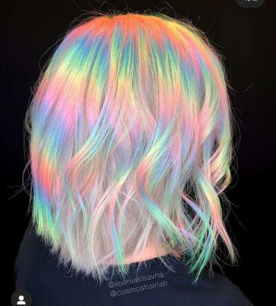 Окрашивание волос серебристая радуга