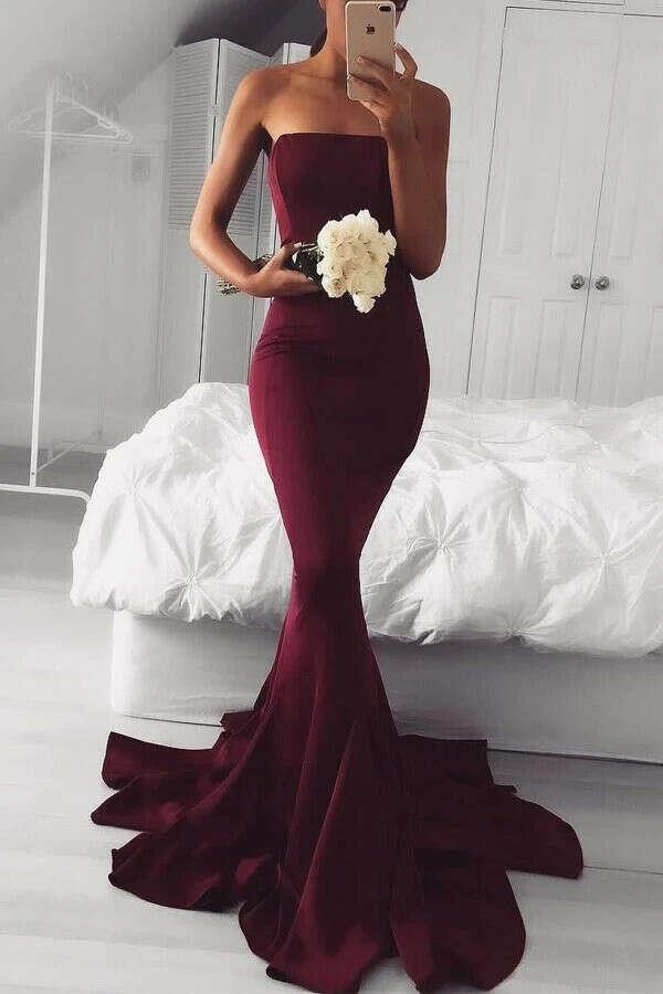 Anneprom Elegant Strapless Mermaid Long Burgundy Prom Dress Bridesmaid Dress APP0148